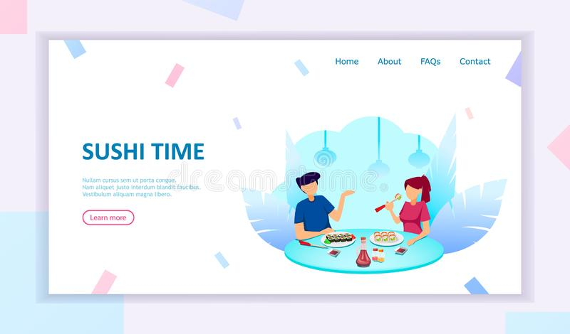 Sushi time. Couple in cafe eating rolls stock illustration