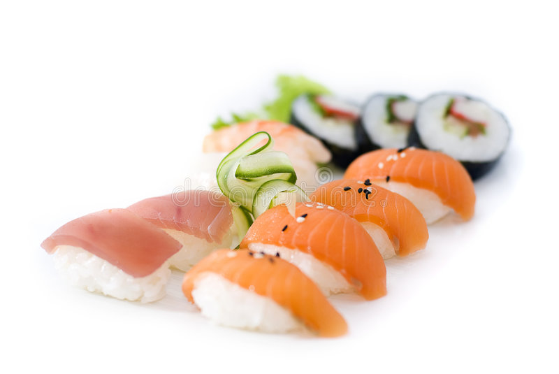 Sushi on a tray stock images