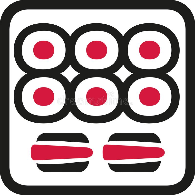 Sushi tray with maki and nigri stock illustration
