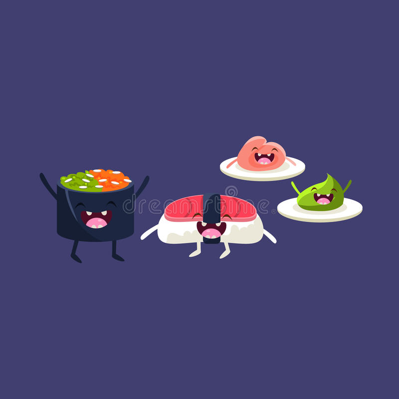 Sushi Tuna And Rice Cartoon Friends. Colorful Funny Flat Vector Isolated Illustration On Blue Background vector illustration