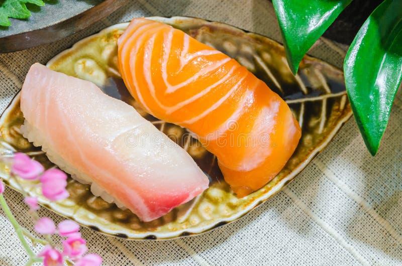 Sushi and tuna roll stock photo