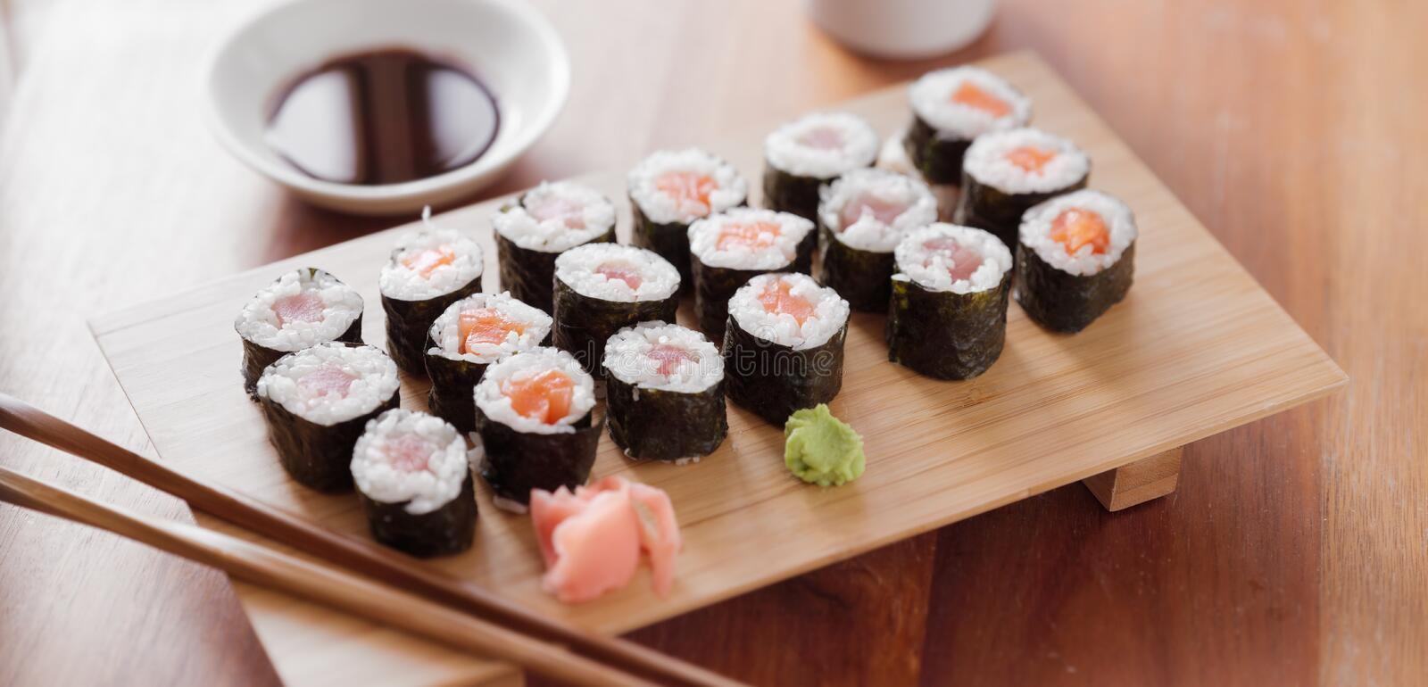Sushi - Tuna And Salmon Maki Roll. Royalty Free Stock Images