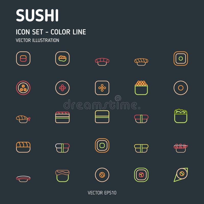 Sushi umreißen Ikonen vektor abbildung