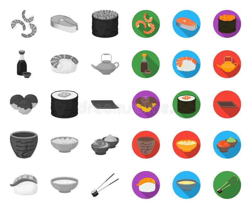 Sushi und Gewürz mono, flache Ikonen in gesetzter Sammlung für Entwurf Meeresfr?chtelebensmittel, zus?tzliches Vektorsymbol-Vorra vektor abbildung
