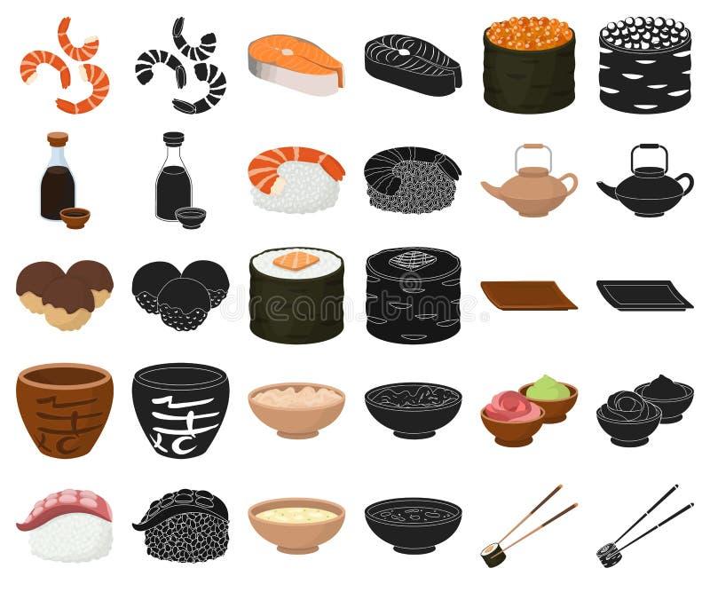 Sushi und Gewürzkarikatur, schwarze Ikonen in gesetzter Sammlung für Entwurf Meeresfrüchtelebensmittel, zusätzliches Vektorsymbol lizenzfreie abbildung