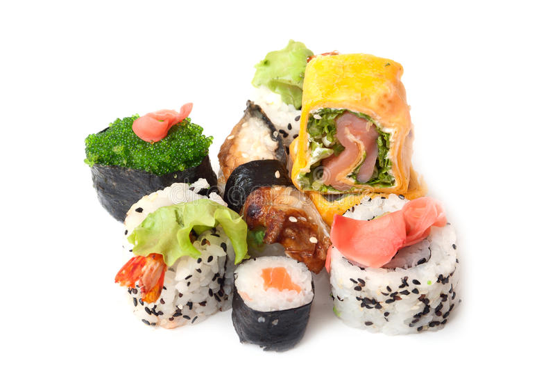 Sushi und Rollen lizenzfreies stockfoto