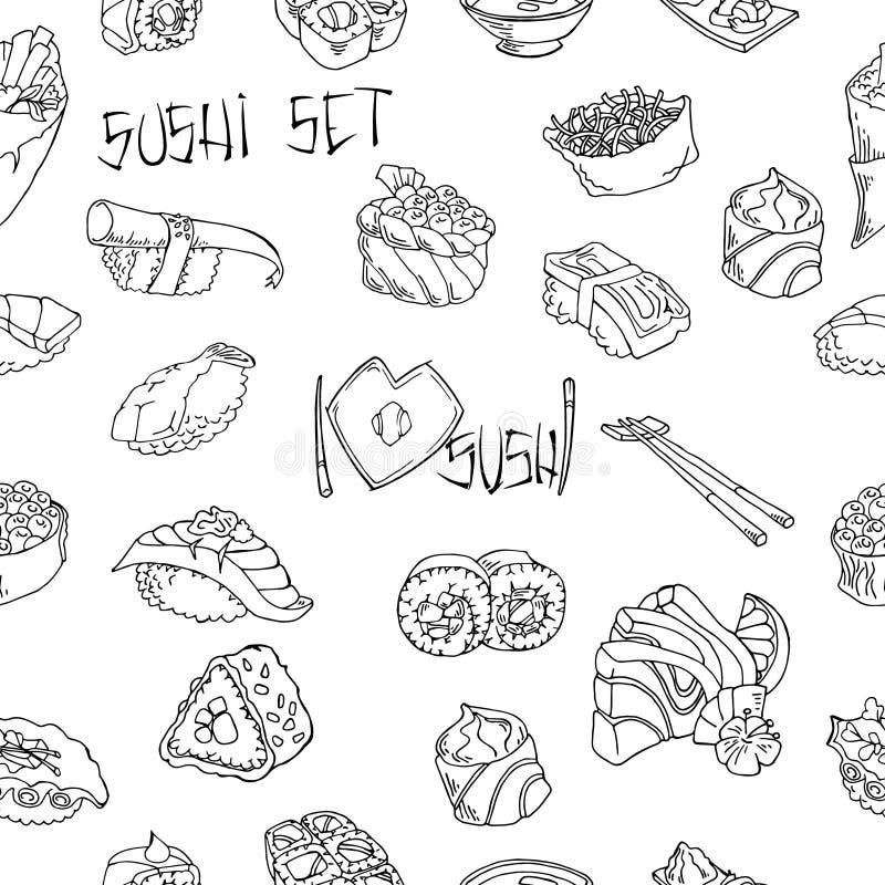 Sushi- und Rollenvektorhintergrund Handgezogene Grafiken auf weißem Hintergrund Nahtloser Hintergrund vektor abbildung