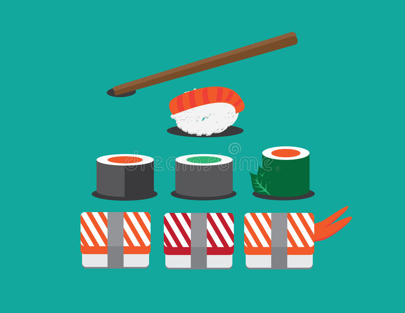 Sushi vector illustration. Sushi set. Soy sauce and sushi roll. Japanese food. Set of various different types of sushi isolated vector illustration
