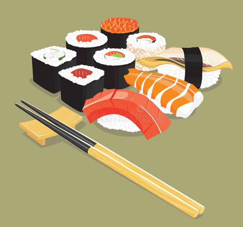 Sushi. Vector illustration of various types of sushi stock illustration