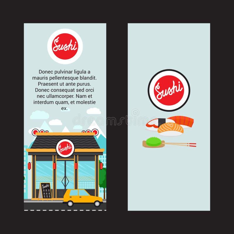 Sushi verticale vliegers met de winkelbouw vector illustratie