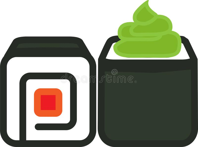 Sushi and wasabi colored icon royalty free illustration