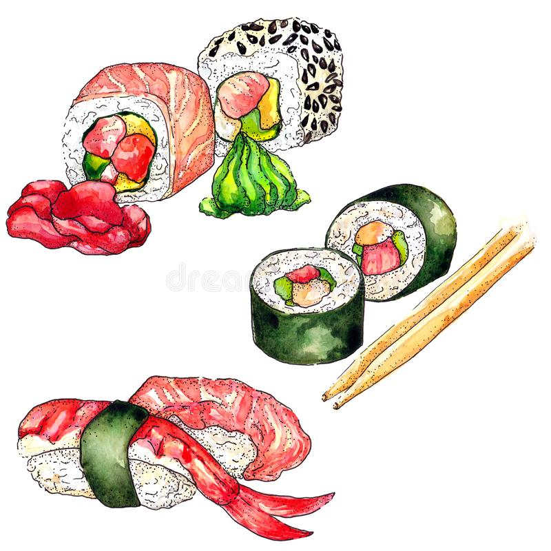 Sushi watercolor. Hand drawn illustration royalty free illustration