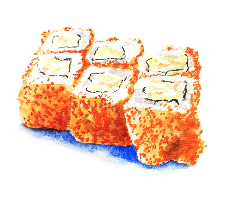 Sushi on white background watercolor illustration. Sushi on white background caviar tasty food illustration rice japan vector illustration