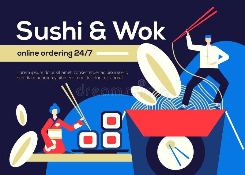 Sushi and Wok - flat design style colorful illustration vector illustration
