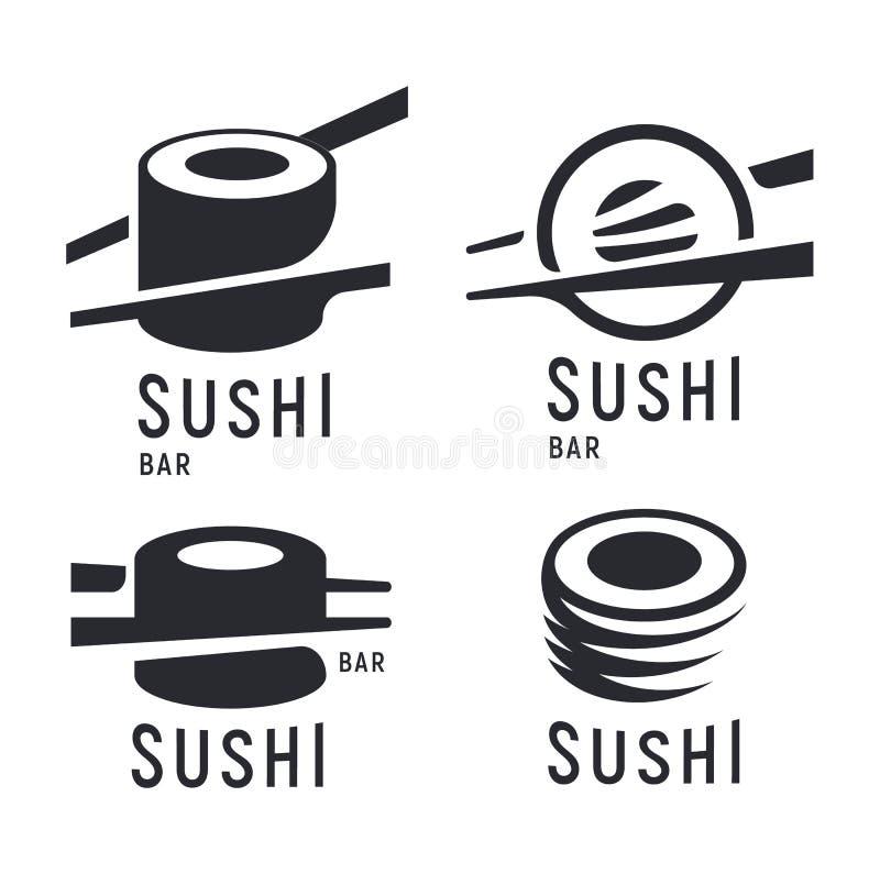 Sushi y rollo con los palillos en el fondo blanco, plantilla negra del logotipo del vector Iconos japoneses monocromáticos de la  ilustración del vector