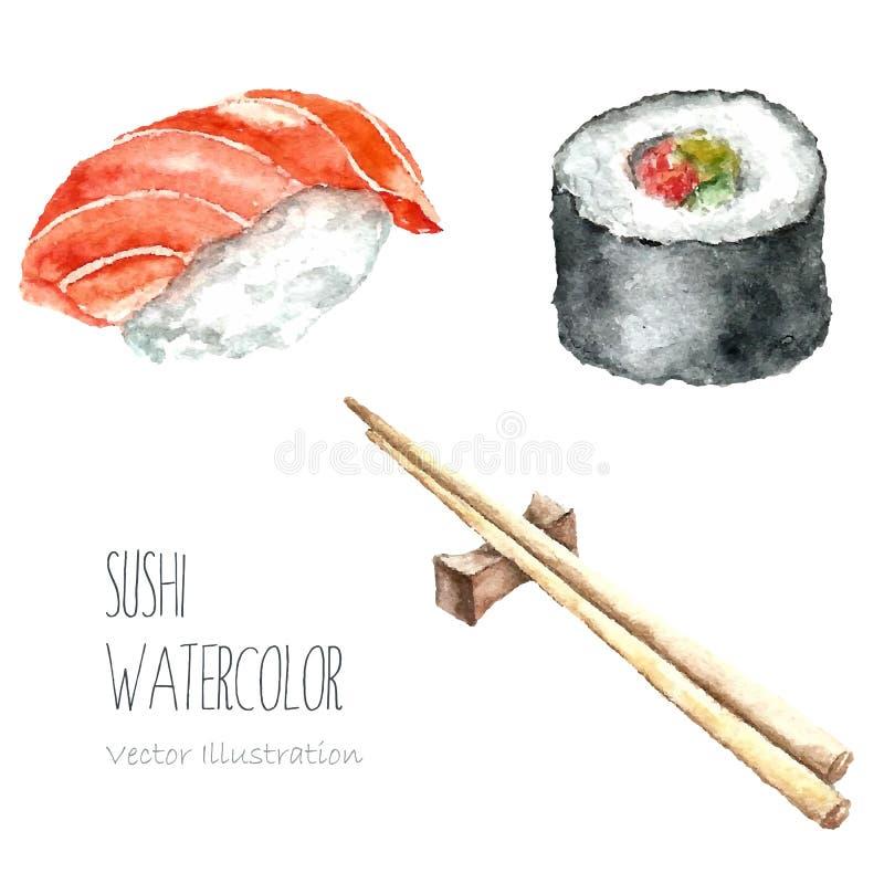 Sushi y rollo de la acuarela con los palillos ilustración del vector
