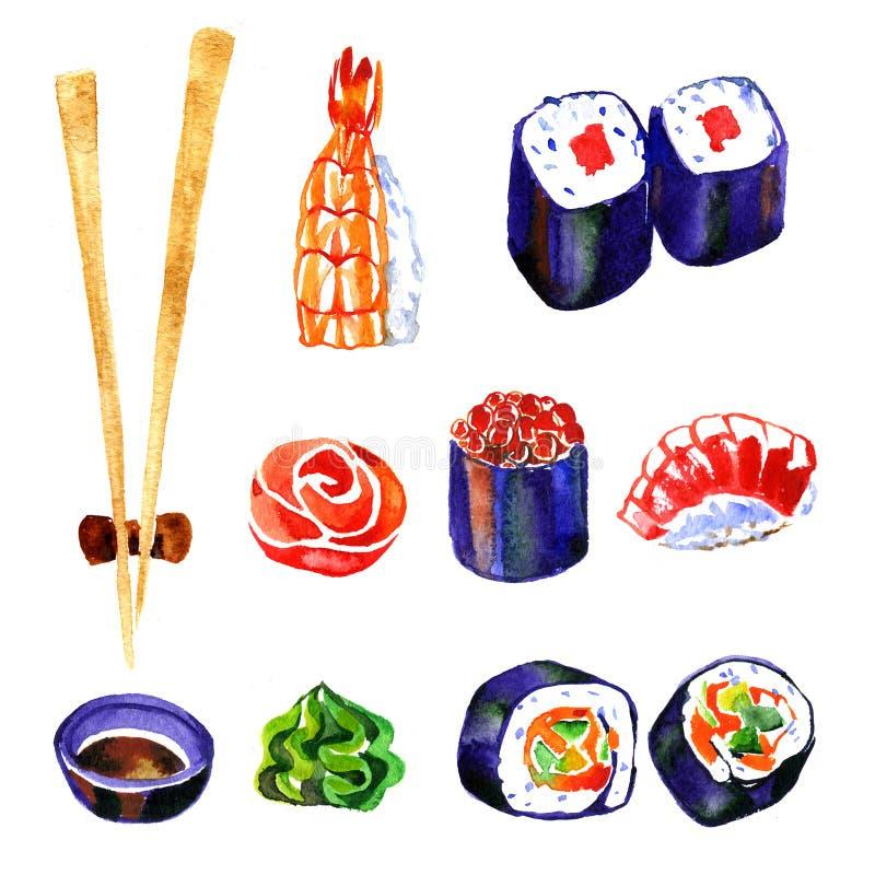 Sushi y rollo de la acuarela en el fondo blanco stock de ilustración