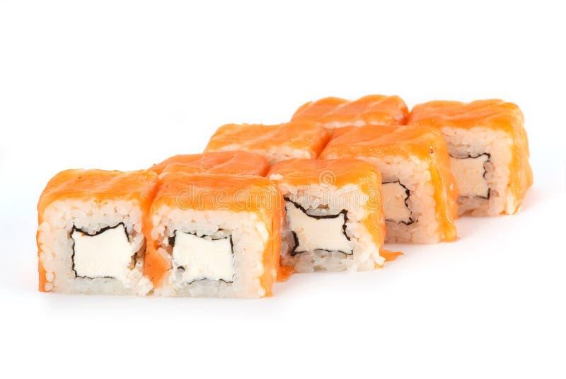 Sushibroodje - Maki Sushi Philadelphia met Roomkaas en Zalm op witte achtergrond wordt geïsoleerd die stock fotografie