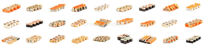 Sushibroodje - Maki Sushi-stukkeninzameling met Salmon Roe, Gerookte Paling, Komkommer, Roomkaas, Sesam, Avocado, Uigebraden gere royalty-vrije stock foto's