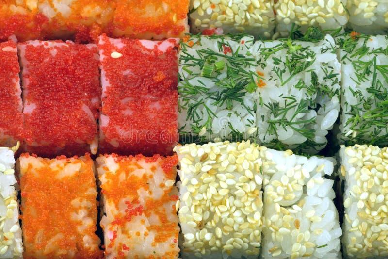 Sushibroodjes met ingrediënten als achtergrondclose-up stock foto