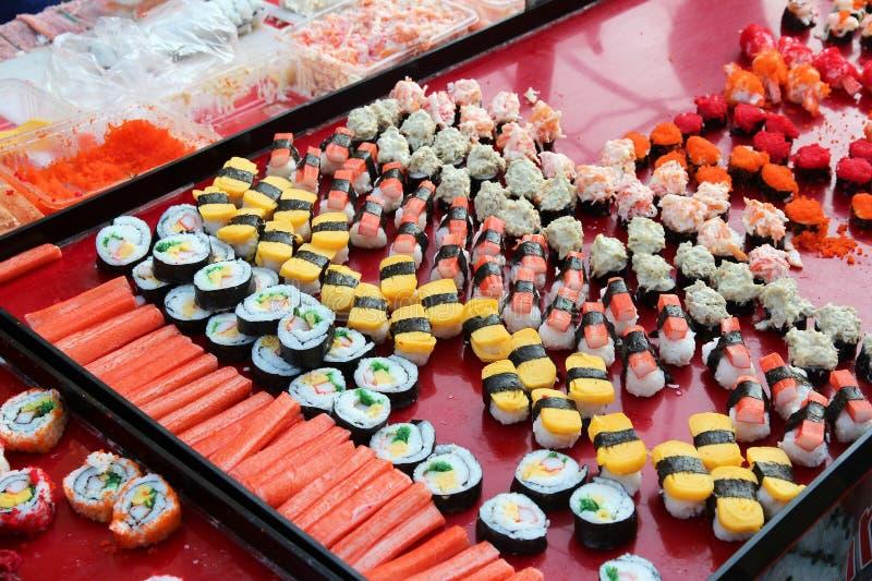 Sushibuffet stock foto's