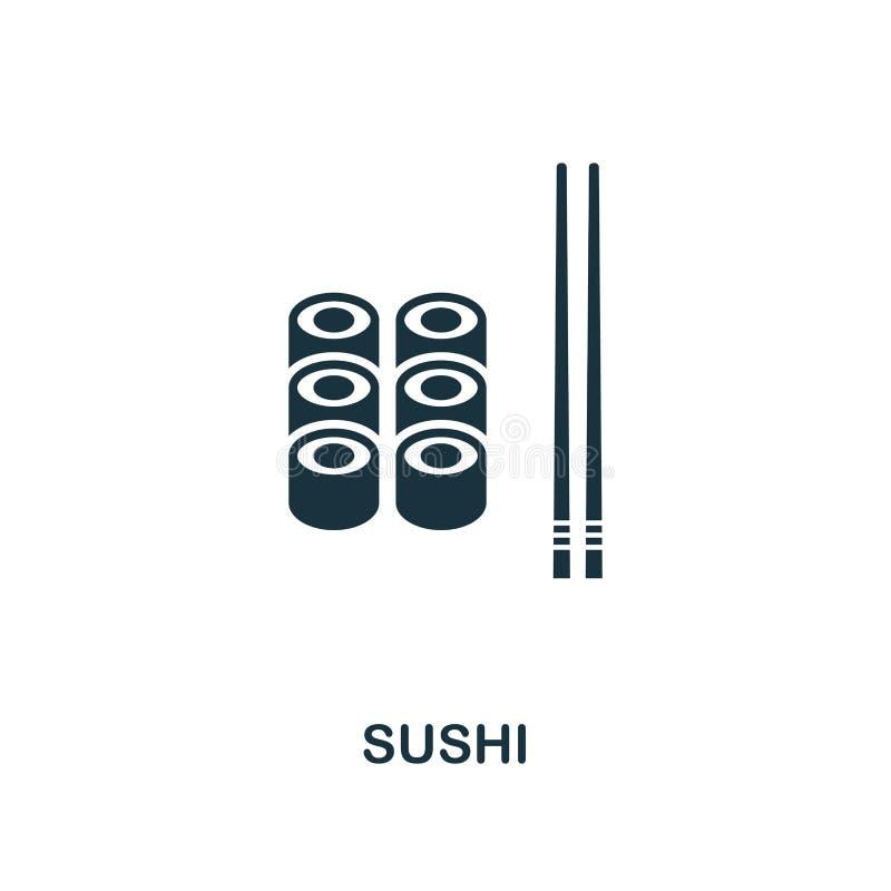 Sushiikone Einfarbiger Artikonenentwurf von der Mahlzeitikonensammlung Ui Illustration der Sushiikone Piktogramm lokalisiert auf  stock abbildung