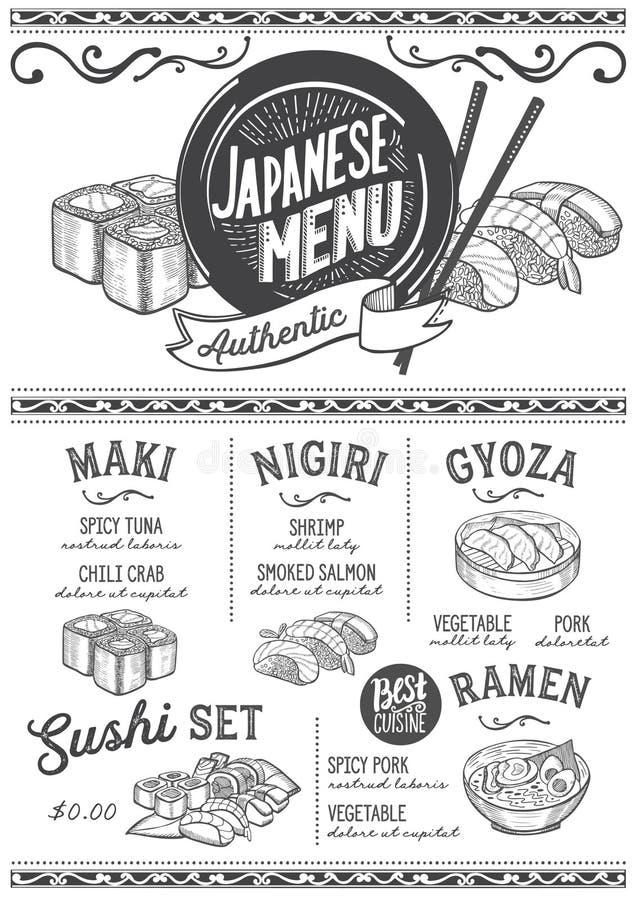 Sushimenürestaurant, Lebensmittelschablone lizenzfreie abbildung