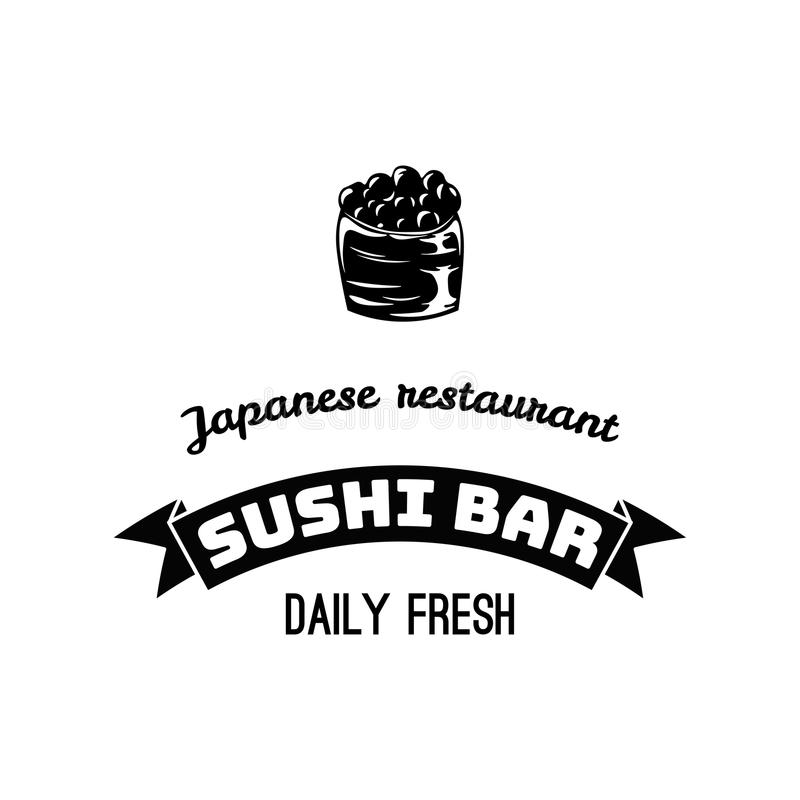 Sushimenüschablone des japanischen Restaurants Asiatisches Menü mit Rolle, stock abbildung