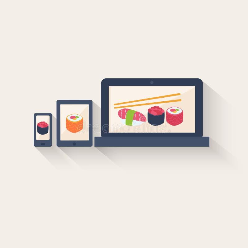 Sushimenu en recepten online vector illustratie