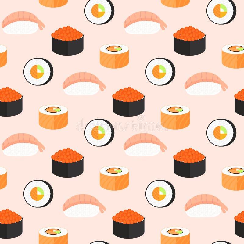 Sushisatz, Rollen mit Lachsen, nigiri mit Garnele, maki Nahtloses Muster des traditionellen japanischen Lebensmittels lizenzfreie abbildung