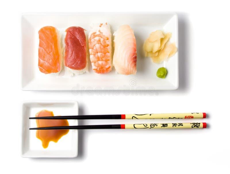 Sushiserie nigirisushi Mahlzeit lizenzfreies stockbild