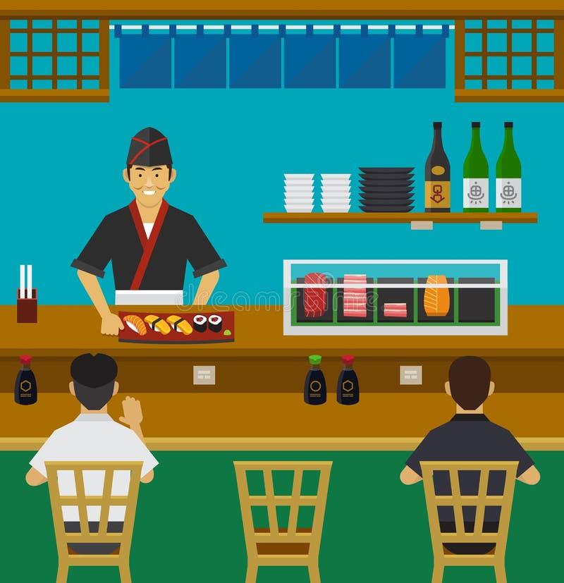 Sushistång, japansk restaurang royaltyfri illustrationer