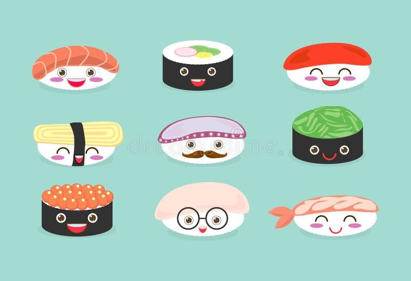 Sushiuppsättning, gullig sushiuppsättning, japansk mat, sushisymboler, vektortecknad film Tecknad filmtecken, vektorillustration stock illustrationer