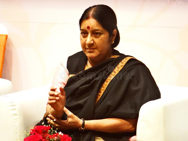 Sushma Swaraj, ministro degli affari esteri dell'indiano fotografia stock libera da diritti