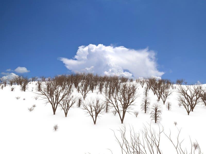 Susi drzewa na śniegu, 3D rendering fotografia royalty free