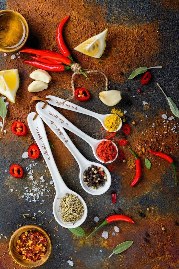 Susi ziele i pikantność w pomiarowych łyżkach na bielu kamienia kuchennym stole obrazy royalty free