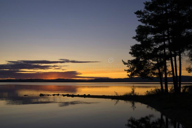 Susnset bij meer Orsa royalty-vrije stock fotografie