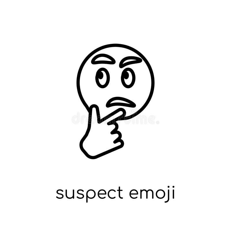 suspect emoji icon. Trendy modern flat linear vector suspect emo royalty free illustration