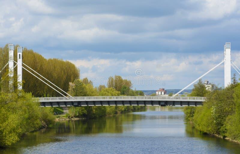 Suspended bridge in Bamberg stock photography
