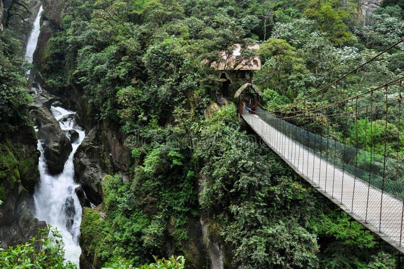 Suspended bridge in Banos Santa Agua, Ecuador stock photos