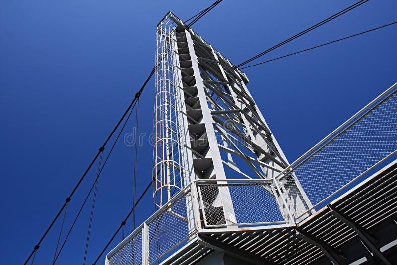 Suspended bridge through Katun. royalty free stock image