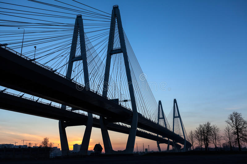 Download Suspended Bridge During Sunrise On Blue Sky Stock Image - Image: 31607601