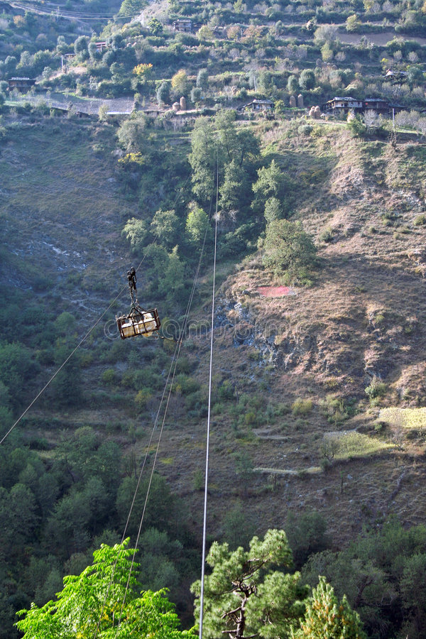 Suspended Cable Trolley In Indian Himalayas Royalty Free Stock Photos