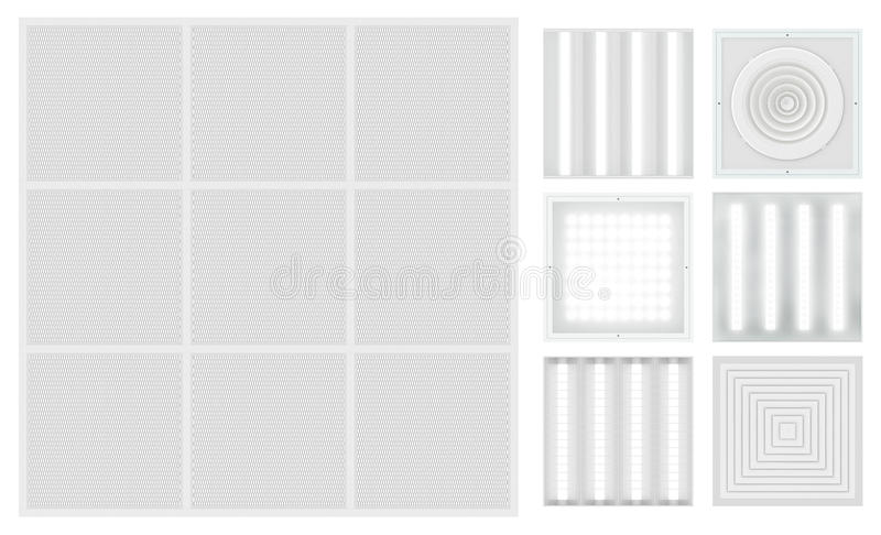 Suspended cassette ceiling with lattice. Set for a modular ceiling. Lamps and ventilation grids. Isolated seamless texture on white background. Top view. 3D stock illustration