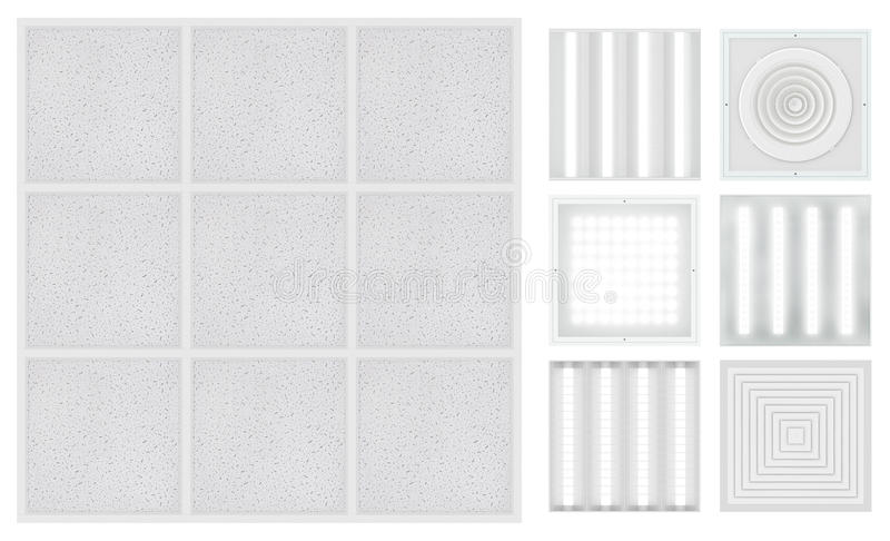 Suspended cassette ceilings - Armstrong. Set for a modular ceiling. Lamps and ventilation grids. Isolated seamless texture on white background. Top view. 3D royalty free illustration