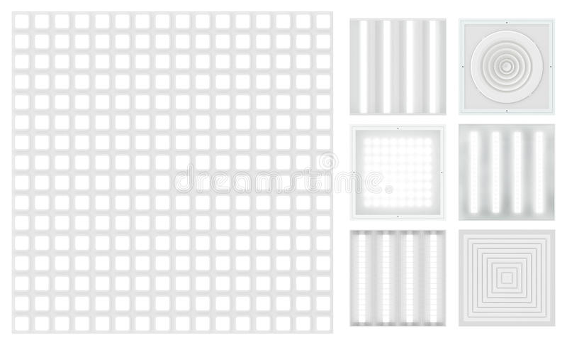 Suspended cassette ceilings - grilyato. Set for a modular ceiling. Lamps and ventilation grids. Isolated seamless texture on white background. Top view. 3D vector illustration