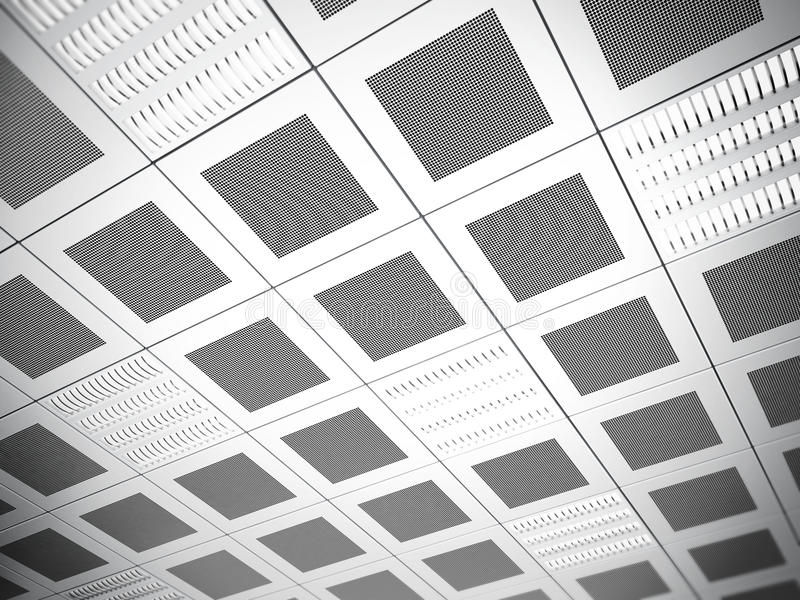 Suspended ceiling background. Suspended ceiling with square tiles royalty free illustration