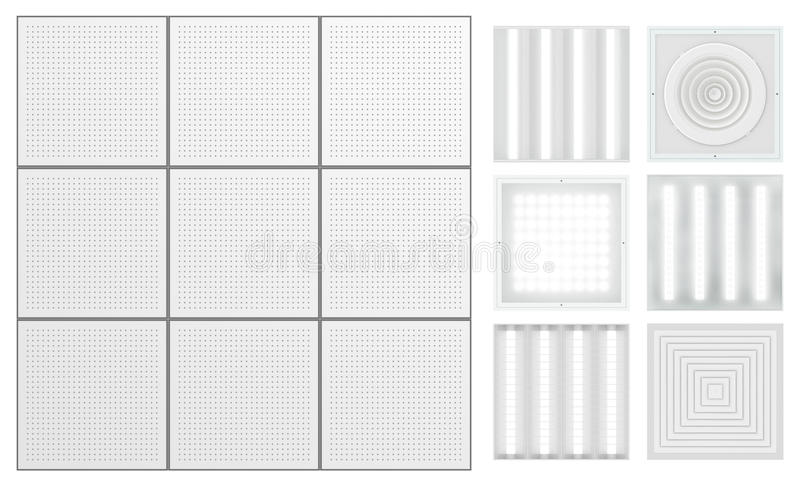 Suspended ceiling with perforated tape. Set for a modular ceiling. Lamps and ventilation grids. Isolated seamless texture on white background. Top view. 3D vector illustration