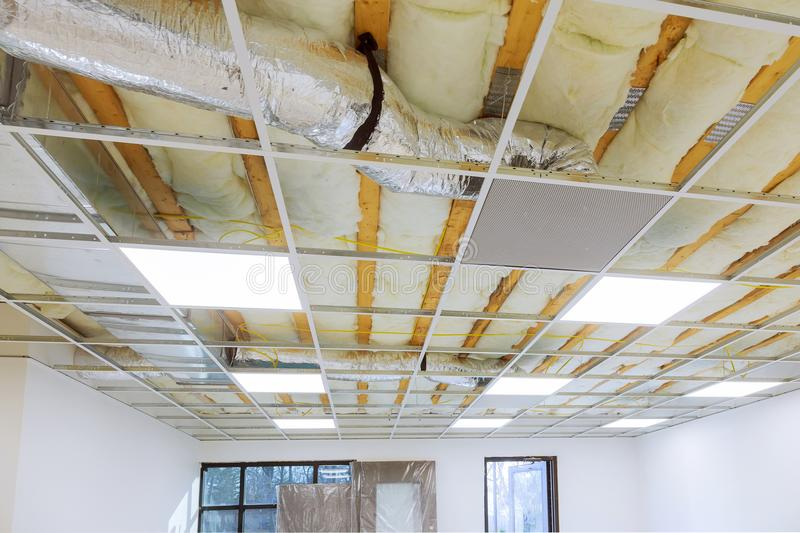 Suspended ceiling structure and installation of ceiling gypsum board. Suspended ceiling structure and installation of board royalty free stock photography