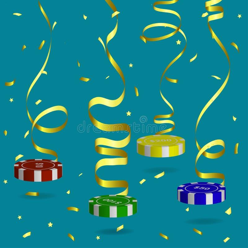 Suspended on a gold serpentine poker chips of different value, flying gold confeti.Vector illustrtion stock illustration